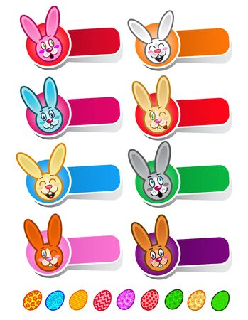 week: Cute Easter Rabbit Icons in vectors