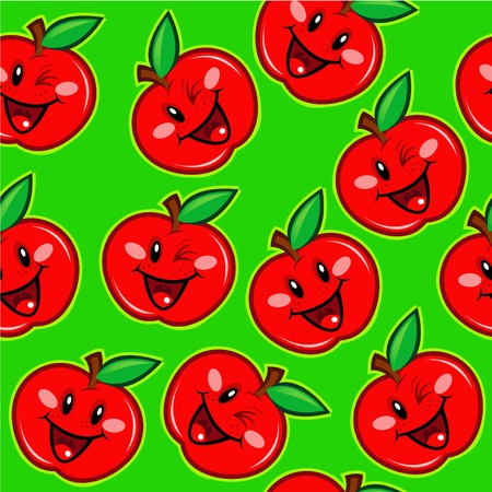 Happy Apples Seamless Background  Vector