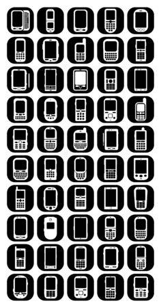 Iconos de tel�fonos celulares y smartphones Vectores