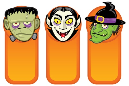 Halloween Characters in Vertical Banners  Vector