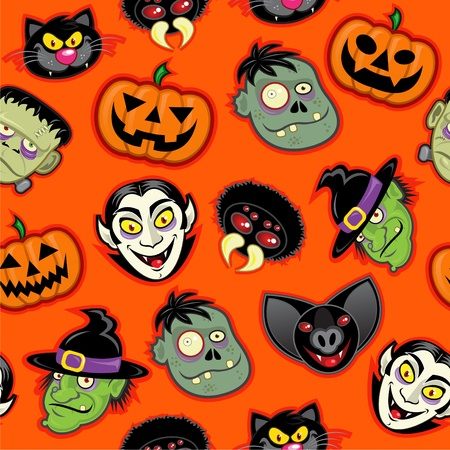 Halloween Characters vector pattern in orange background  Vector