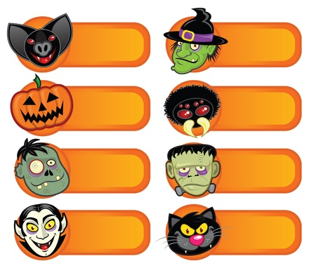 Halloween Character Labels Collection  Vector