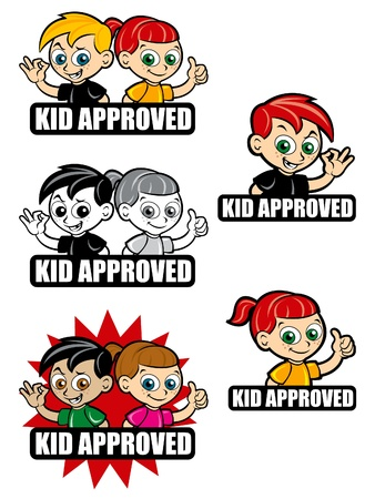affirmative: Kid Approved Icon  Seal  Mark, version boy and girl  Illustration