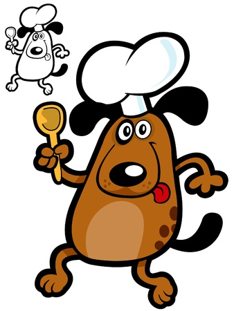 doggies: Crazy Dog Cooker. Vector Illustration for dogs products