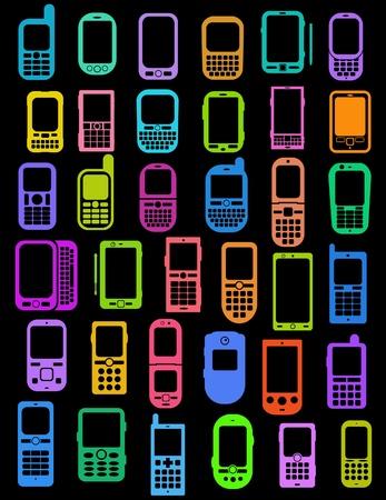 Gekleurde mobiele telefoons en smartphones op zwarte achtergrond Stock Illustratie