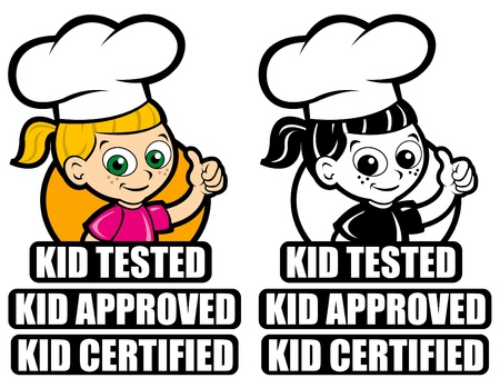 cartoon chef: Kid Tested Icon  Mark  Seal. Version Girl Cooker
