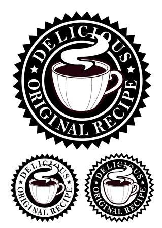 Emblema de receta original  bebidas calientes  Vectores