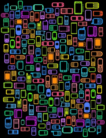 mobile communication: A lot of Cellphones and Smartphones in black background
