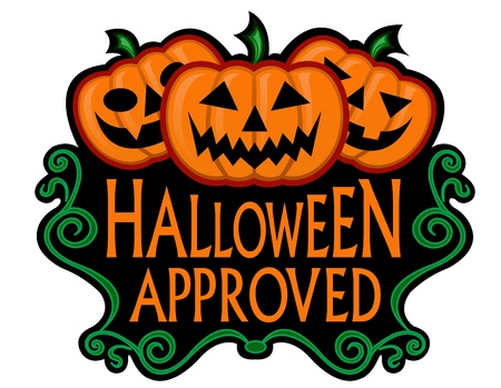 halloween cartoon: Halloween Approved Label  Illustration