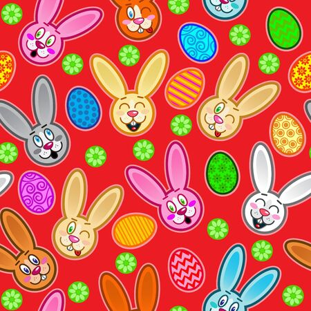 Easter seamless pattern with eggs and rabbits in red background  Vector