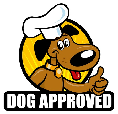 pelota caricatura: Curioso sello de la aprobación de un perro de cocina. Ideal para soportar productos de tales alimentos para perros  Vectores