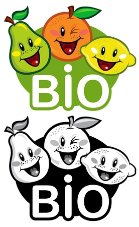 Bio Fruits Seal in color and B&W  Vector