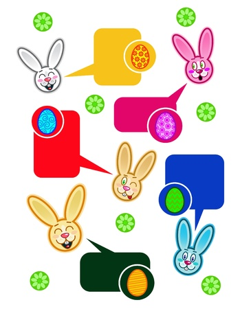Easter Rabbit Dialog Bubbles in vectors Stock Vector - 9674517