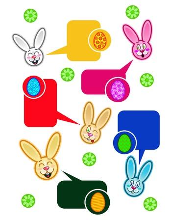 Easter Rabbit Dialog Bubbles in vectors Stock Vector - 9674517