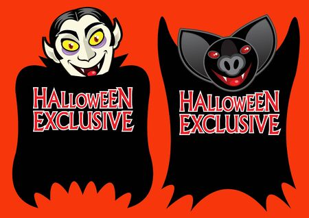 Halloween Exclusive Vampire Label  Vector