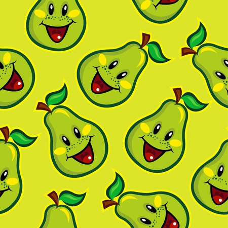 Happy Pear Seamless Pattern  Vector