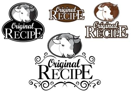 Sello de receta original de vaca y ternera versi�n