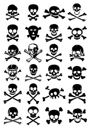 tete de mort: Collection Cr�nes Vecteur crois�s en arri�re-plan blanc Illustration