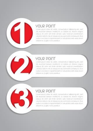Uno, Dos, Tres etiquetas de iconos vectoriales