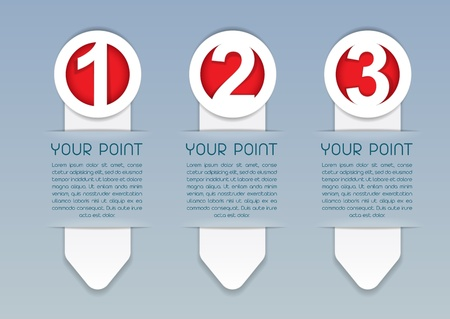 your point: One, Two, Three vector progress icons in White
