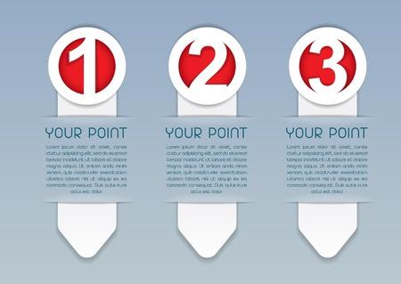 Uno, Dos, Tres iconos del vector de progreso en blanco Vectores