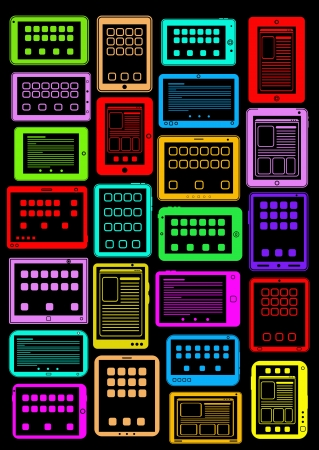lcd display: Tablet PC icons in colors