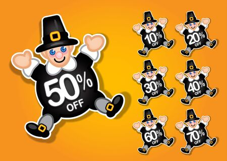 Thanksgiving Pilgrim vector discount stickers   labels Vector