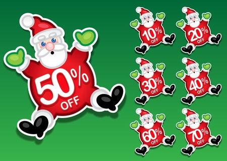 Santa Claus Discount Sale Stickers Vector