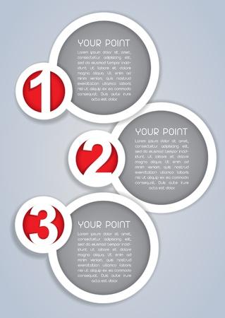 Een, Twee, Drie, Circulaire vooruitgang labels in het wit Stock Illustratie
