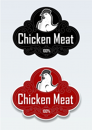 chicken and egg: Chicken Meat Seal  Sticker Illustration
