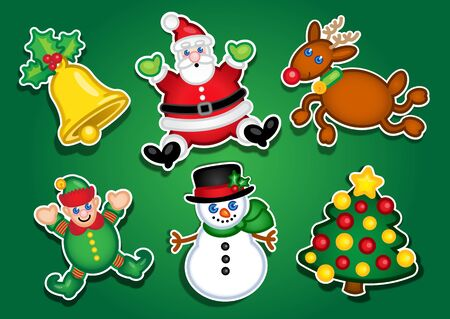 Christmas Stickers  Labels Vector
