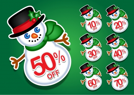 Christmas Snowman discount stickers / seals Vector