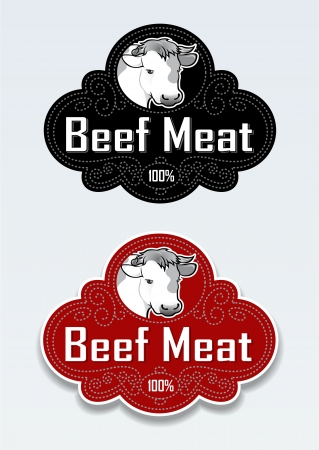 Beef Meat Seal / Sticker Stock Vector - 13673294