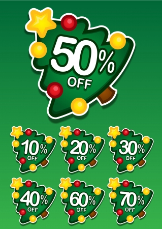 etiquete: Christmas tree discount vector sticker