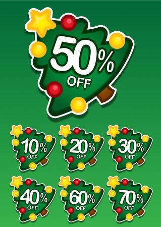 etiquete: Christmas tree discount vector sticker
