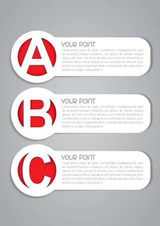 ABC-opties Vector Labels Stock Illustratie