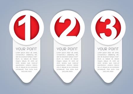 Uno, dos, tres verticales iconos del vector de progreso en blanco