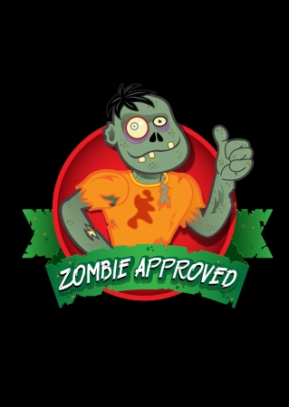 Image ID: 100741336   Release  information: NA   Copyright: Reno Martin   Keywords: afraid, alive, approved, badge, black background, cartoon, celebration, cementery, character, circle, comic, cool, corpse, crepy, dead, death, foil, funny, gifts, green, Illustration