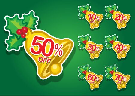 Christmas Bell discount stickers Stock Vector - 13681436