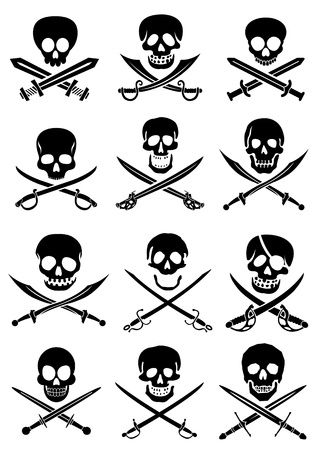 Crossed Swords with Skulls collection in white background Vector