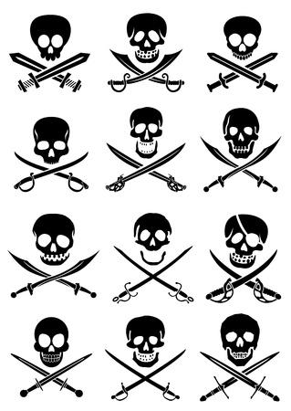 Espadas cruzadas con la colecci�n de cr�neos en el fondo blanco