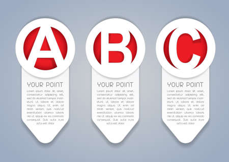 ABC vertical progress icons in White Vector