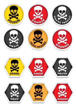 Skull & Crossbones Warning Stickers Vector