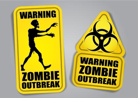 Zombie Outbreak pegatinas o etiquetas de advertencia Vectores