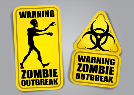 biohazard symbol: Zombie Outbreak Warning Stickers  Labels