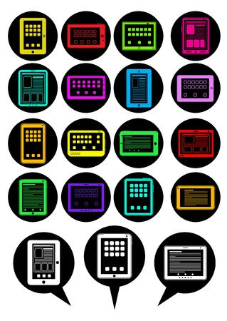 Tablet PC icons / speech bubbles Stock Vector - 13694509