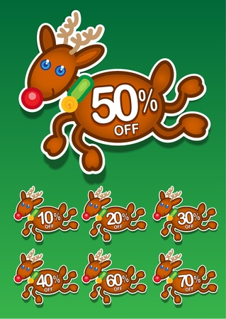 Christmas Reindeer Discount Stickers Vector