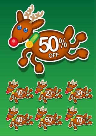 etiquete: Christmas Reindeer Discount Stickers Illustration