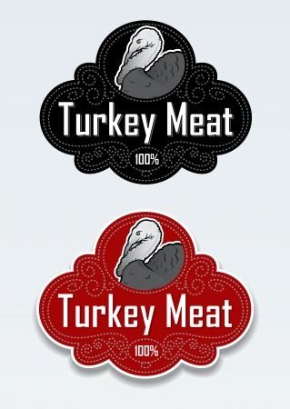 plumed: Turkey Meat Seal   Stciker Illustration