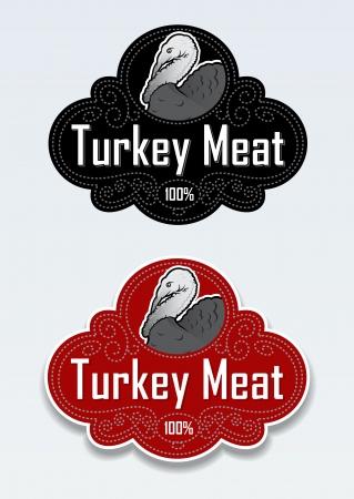 meat soup: Turkey Meat Seal   Stciker Illustration